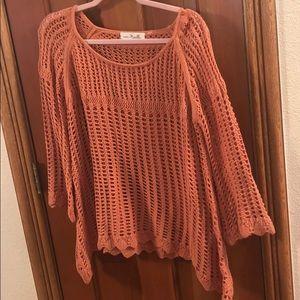 Tops - Orange crochet top